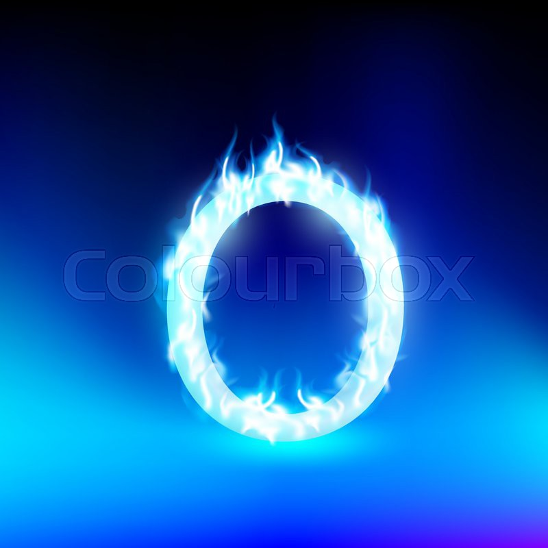 Vector letter with blue fire | Stock Vector | Colourbox