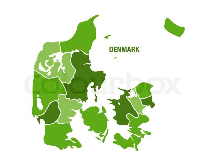 Danmarkskort Med Regioner Stock Vektor Colourbox
