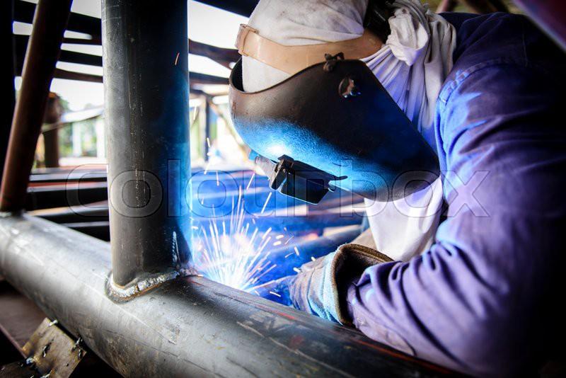 Welding steel structure, stock photo
