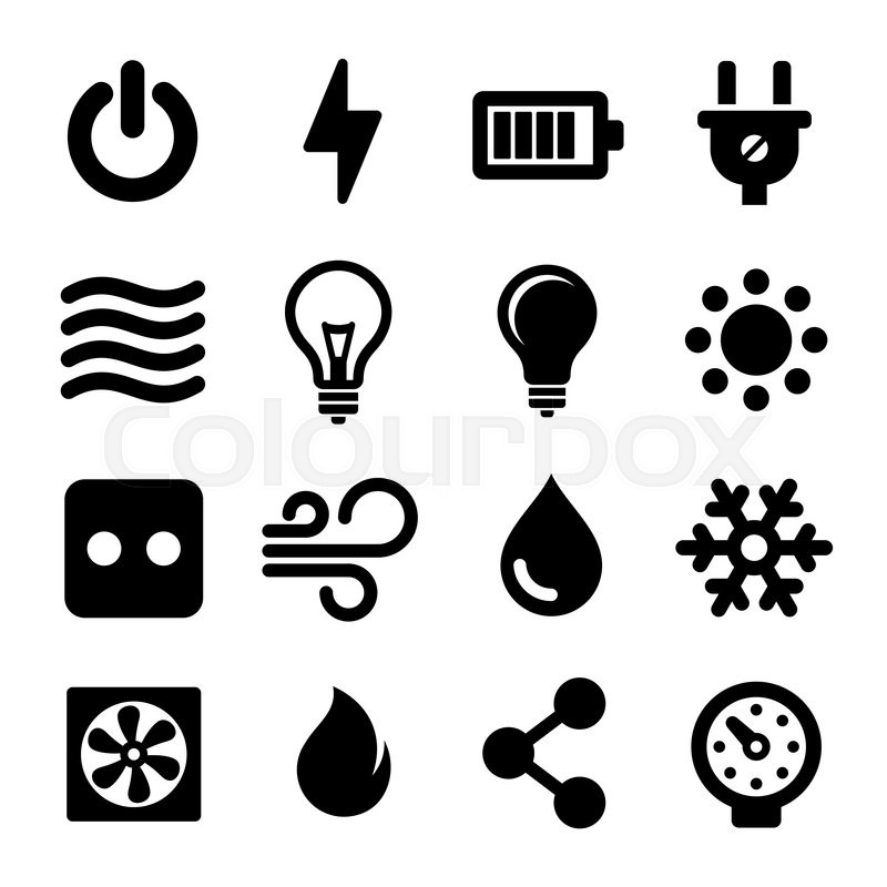 electric icons set for electrical box  vector