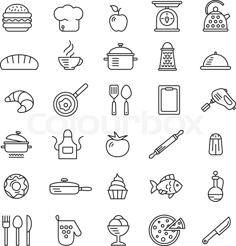 Cooking Icons Vector Symbols Simple Style Fine Lines Stock