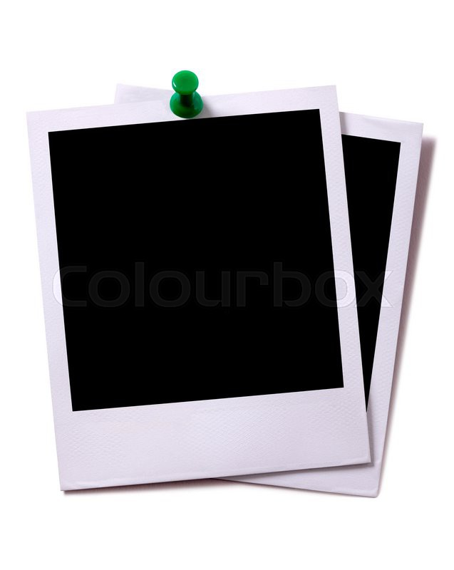 polaroid two blank polaroid instant camera photo prints with green