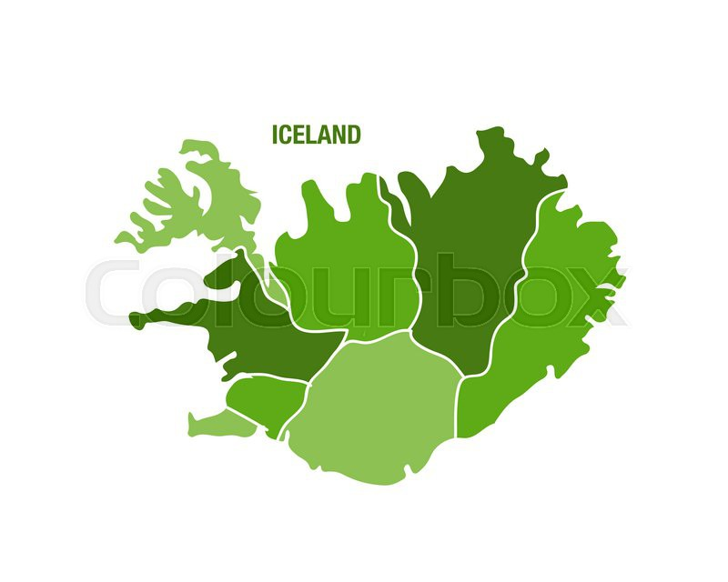 Vector illustration of a green Iceland ... | Stock Vector | Colourbox