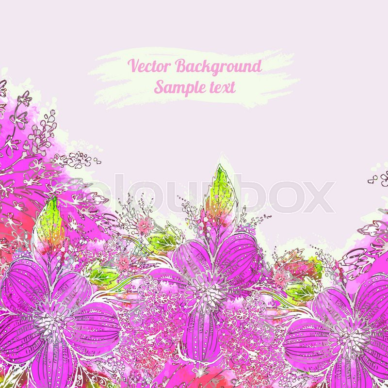 Romantic Watercolor Card With Flowers Decor Design Greeting Cards