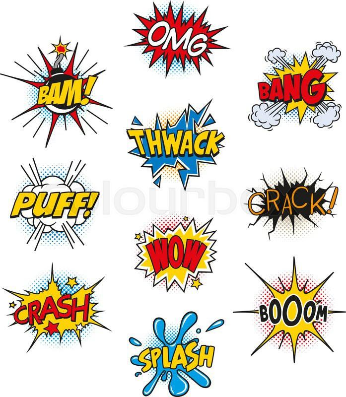 set of retro comic book vector design elements speech and thought rh colourbox com comic book vector graphics comic book vectors free