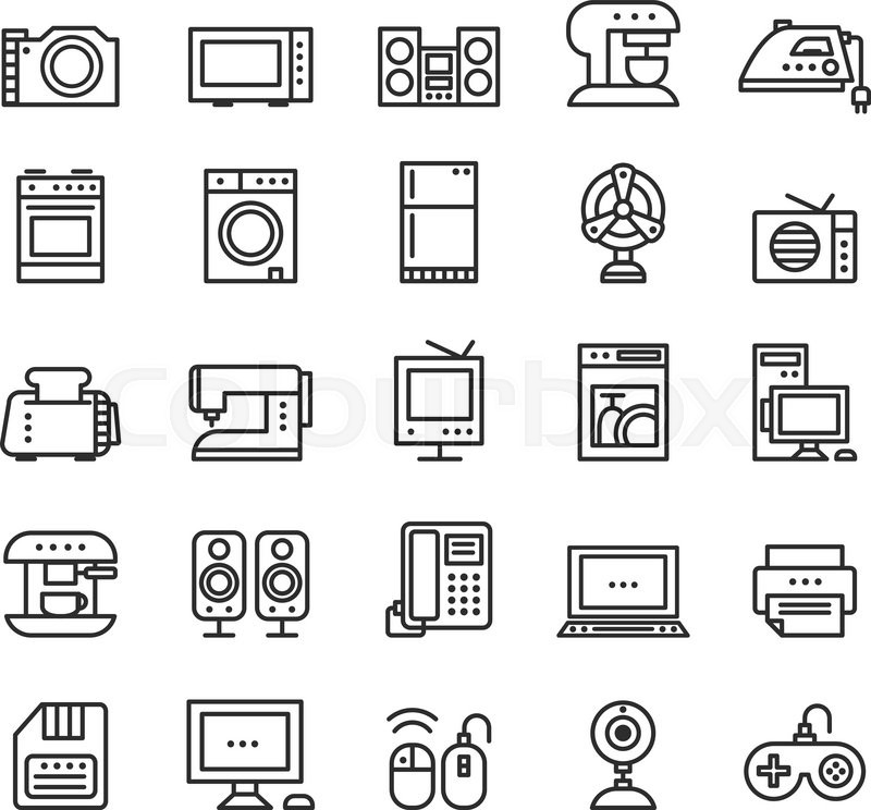 Home appliances and equipment icons vector modern line