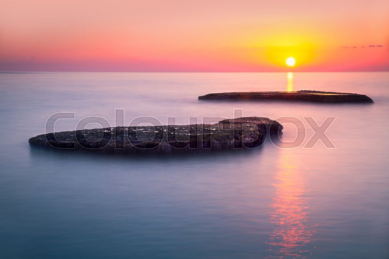 Beautiful colorful sunset over sea, Lebanon, Mediterranean sea, amazing landscape, calm evening seascape, beauty of nature, stock photo