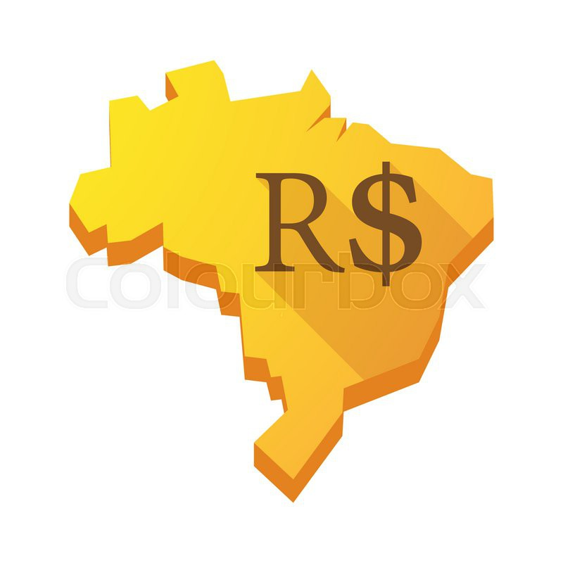 Illustration Of A Yellow Brazil Map With A Brazilian Real Sign