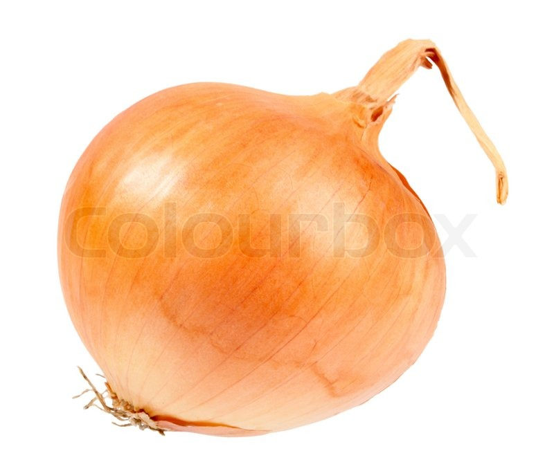 Stock image of 'Single a orange fresh onion. Isolated on white background. Close-up studio photography.'