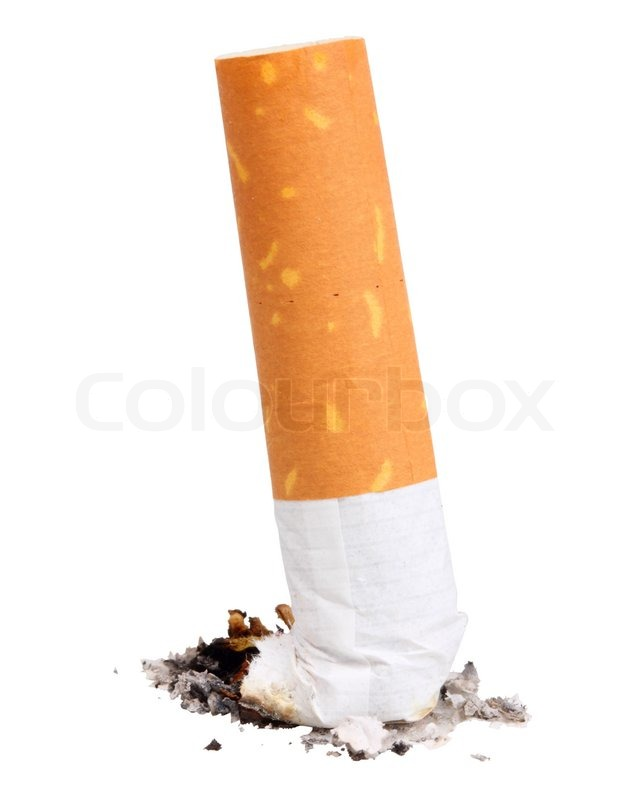 Single Cigarette Butt With Ash Close Up Isolated On