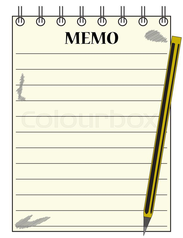 A lined memo blank notepad template or background with a pencil – Notepad Template Word