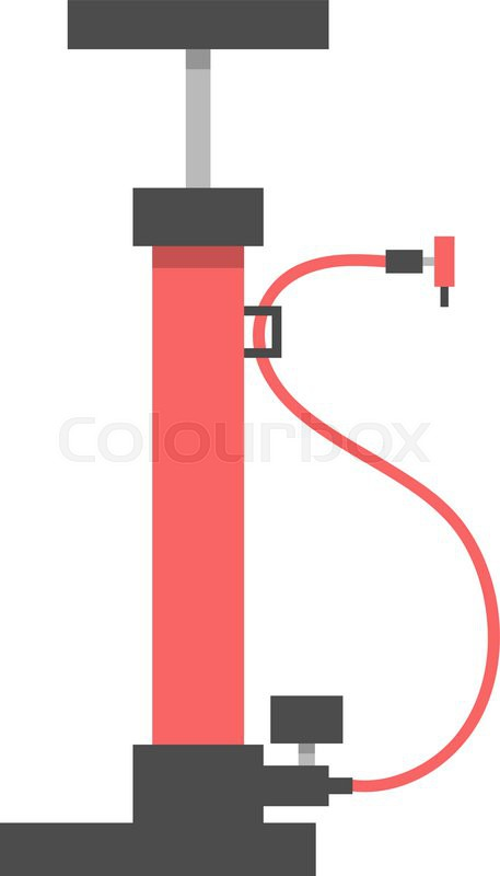 800px_COLOURBOX12734593 red bicycle pump on white background flat design modern vector