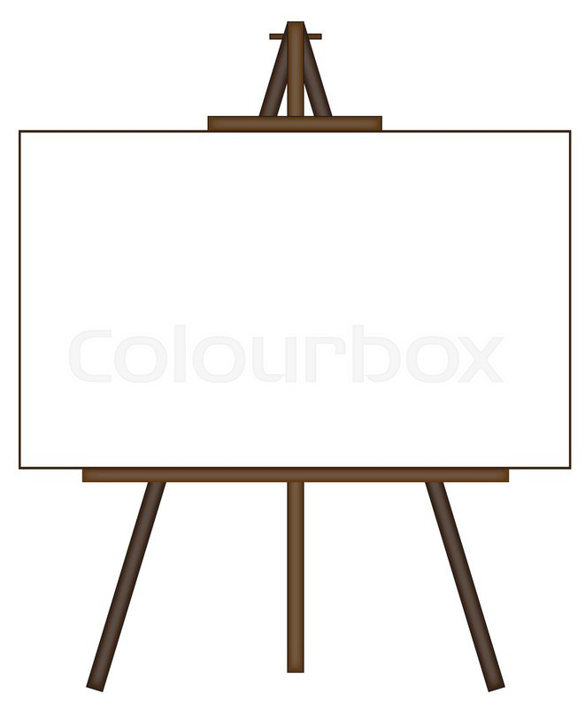 a blank canvas on an easel isolated on a white background stock