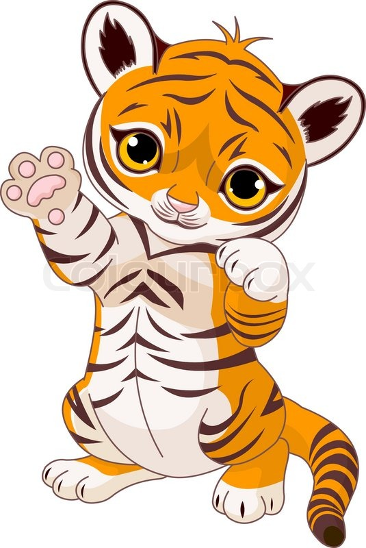 illustration of cute playful tiger cub waving hello stock vector rh colourbox com tiger cub clipart free