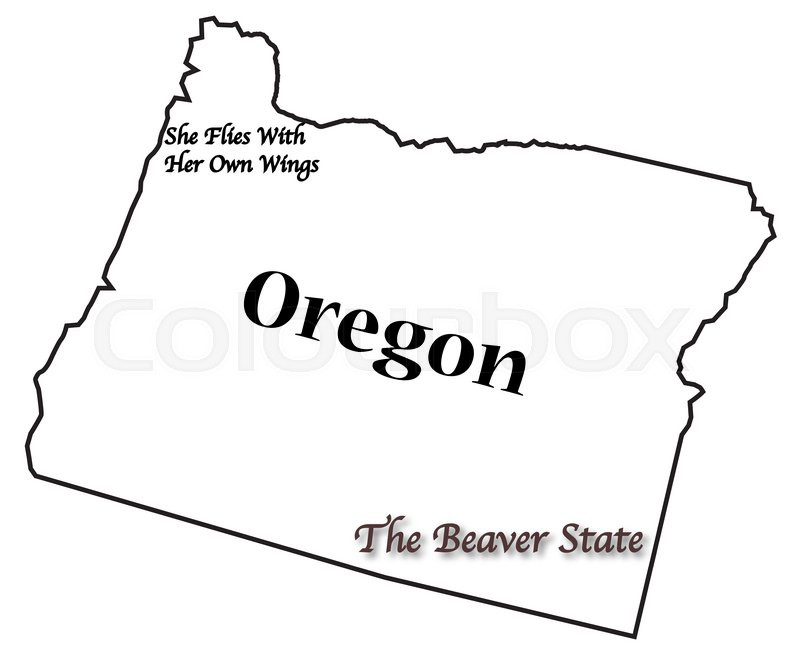 an oregon state outline with the slogan and motto isolated on a