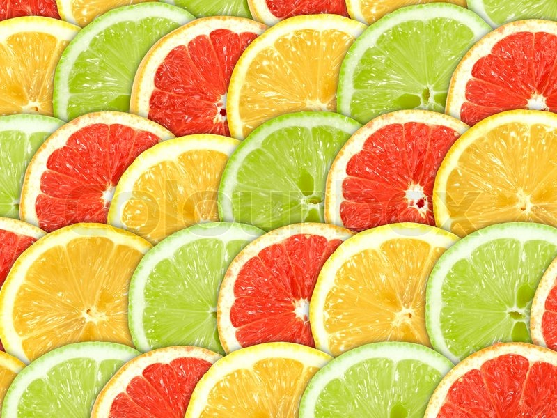 Abstract three-color background with citrus-fruit of ...