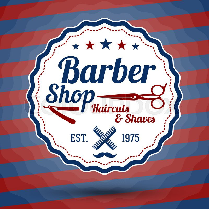 Vector Retro Stylized Sign For Barber Shop On Classic Barbers