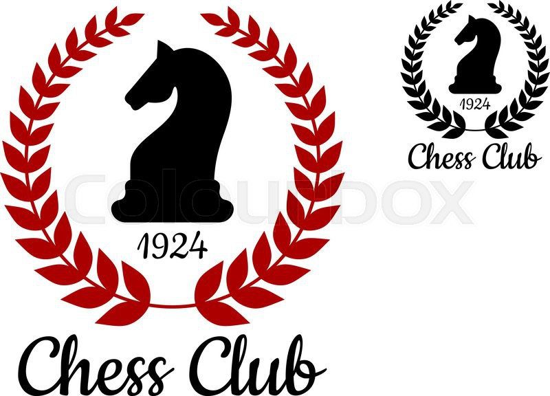 Chess club logo or emblem with black silhouette of horse ...