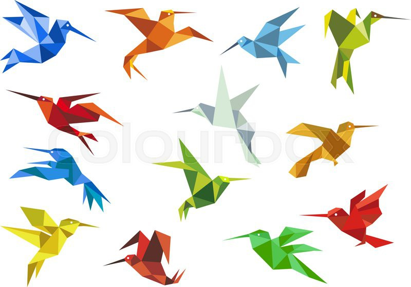 Origami Paper Hummingbirds Design Elements With Flying Colorful Abstract Colibri For Logo Or Emblem