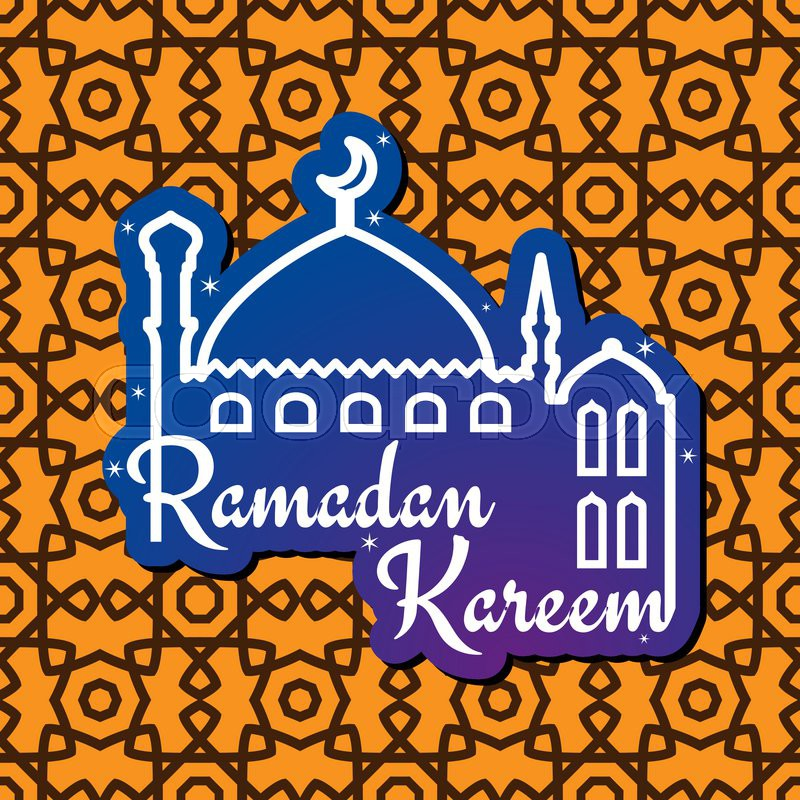 Greeting card design for muslim holy month of ramadan mubarak with greeting card design for muslim holy month of ramadan mubarak with silhouette of mosque and wishes ramadan kareem on seamless arabic geometric arabesque m4hsunfo