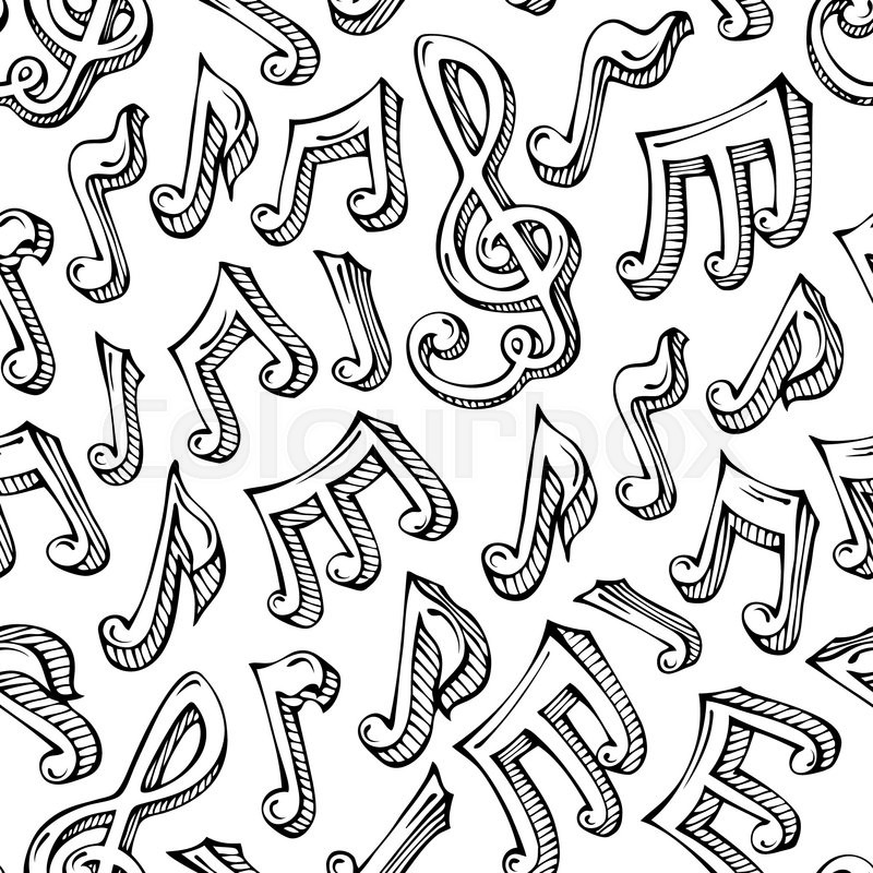 Black Hand Drawn Music Notes And Treble Clefs On White Background