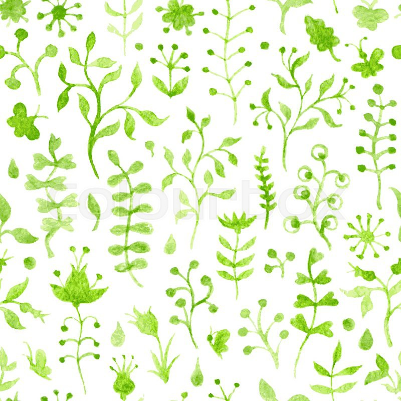 Hand Drawn Green Watercolor Floral Silhouettes On White Background Seamless Pattern Can Be Used For Wallpapers Web Page Backgrounds Or Wrapping Papers