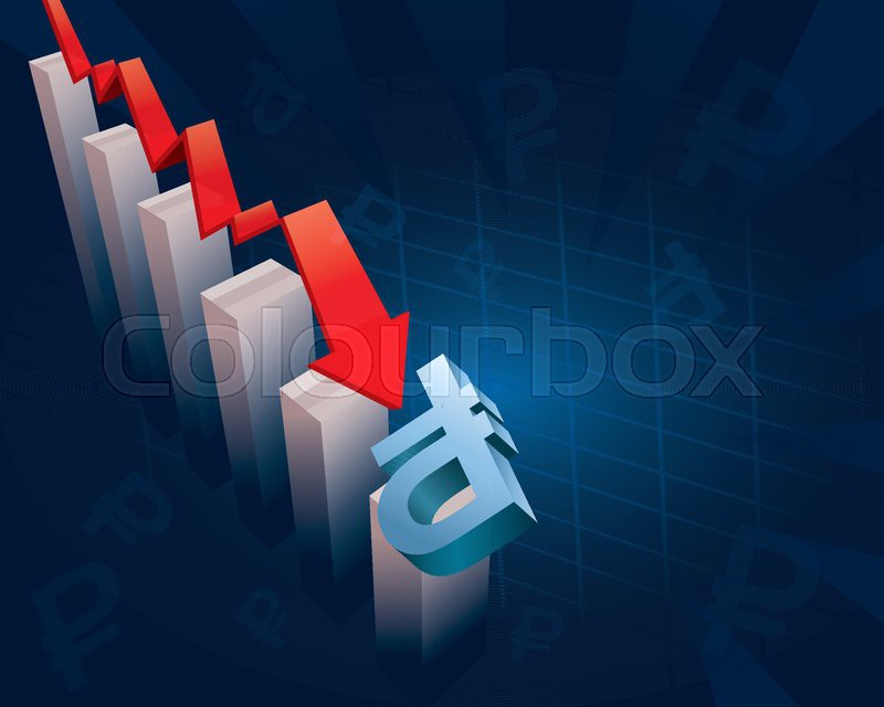 Illustration Of Financial Graphs And Russian Ruble Currency Symbol