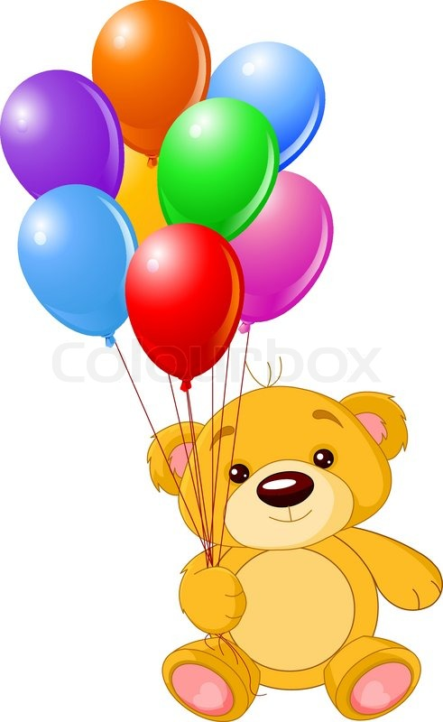 Illustration of cute little Teddy bear holding colorful balloons ...