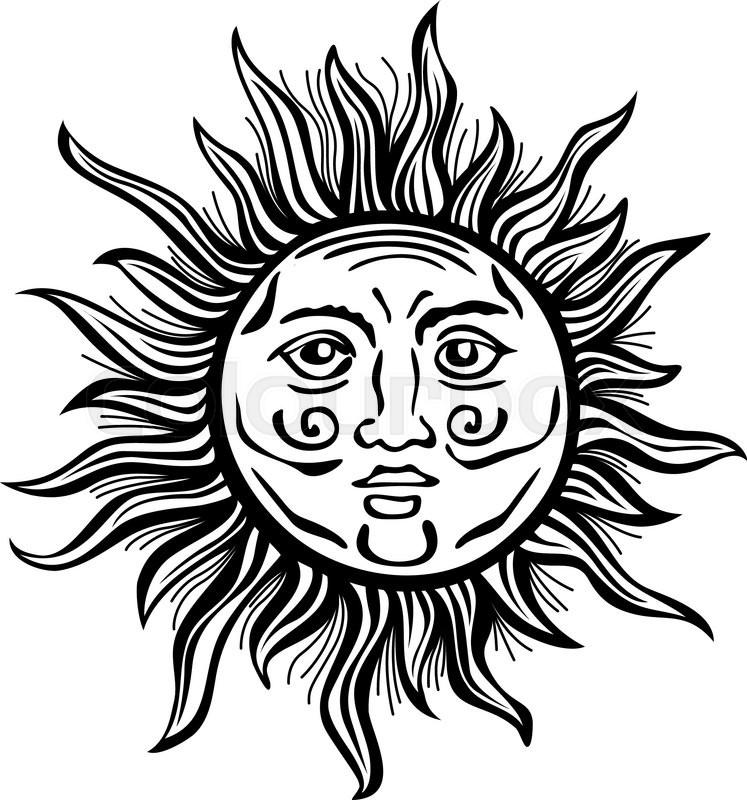 Sun retro vintage vector folklore art     | Stock vector | Colourbox