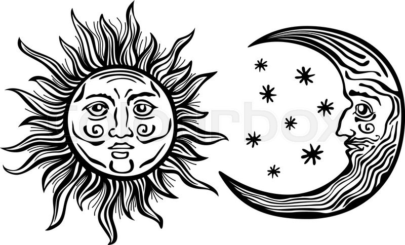 An Etched Style Cartoon Illustration Of A Sun Moon And Star With