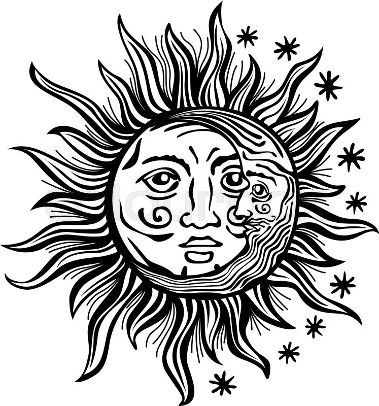 Line Drawing Sun Vector : An etched style cartoon illustration of a sun moon and
