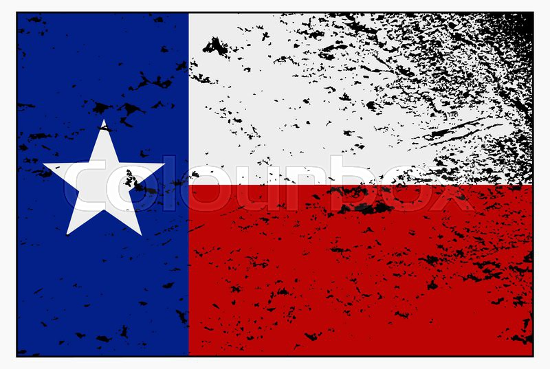 A Texas Flag With A Grunge Design Isolated On A White Background