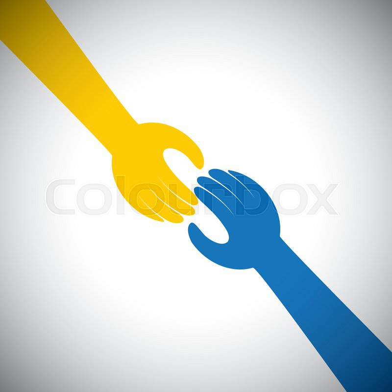 Vector Icon Of Two Hands Touching Concept Of Receiving Giving