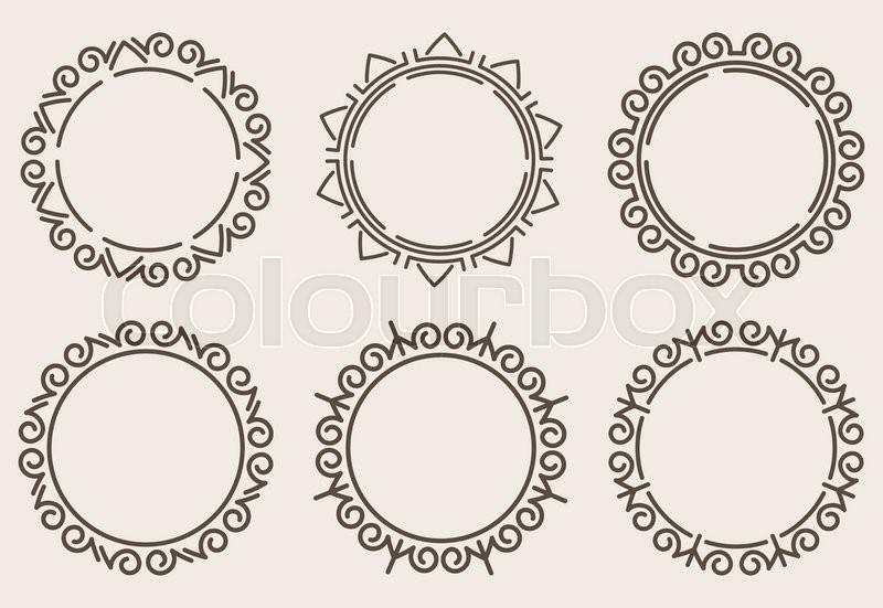 Elegant Set Of Six Decorative Round Borders, Vector