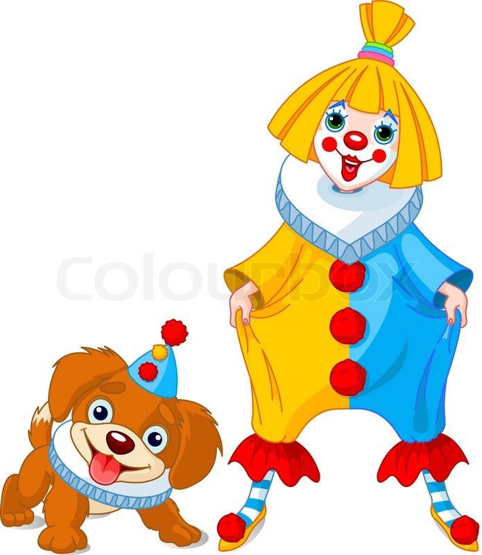 lustige clown m dchen und der clown hund vektorgrafik colourbox. Black Bedroom Furniture Sets. Home Design Ideas