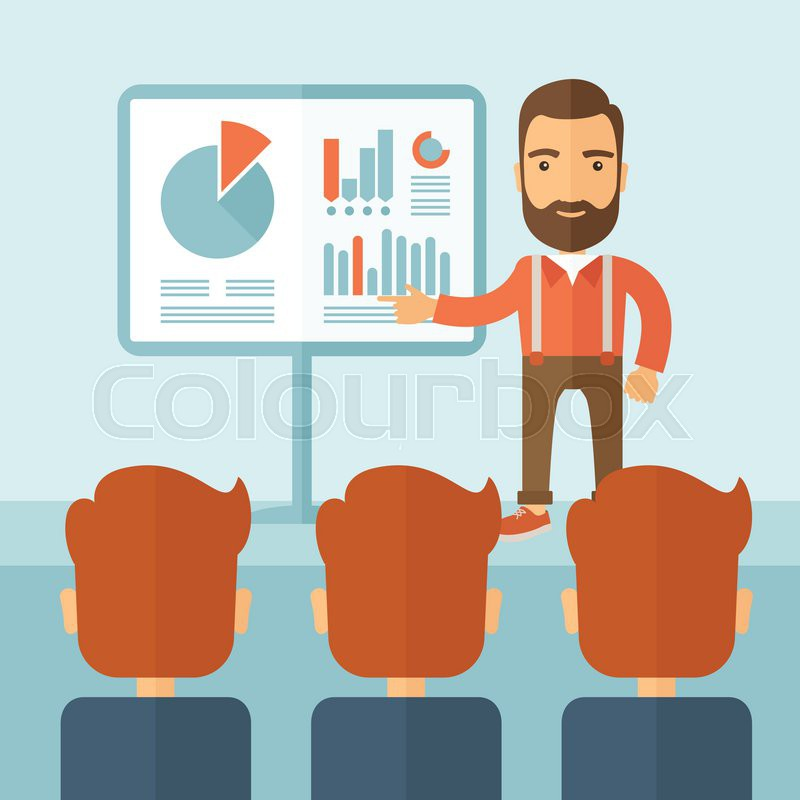 The man with a beard presenting his report through infographics in office. Reporting concept. Vector flat design illustration, vector