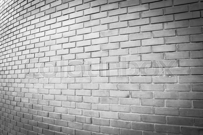Perspective White Brick Wall Texture Background Stock