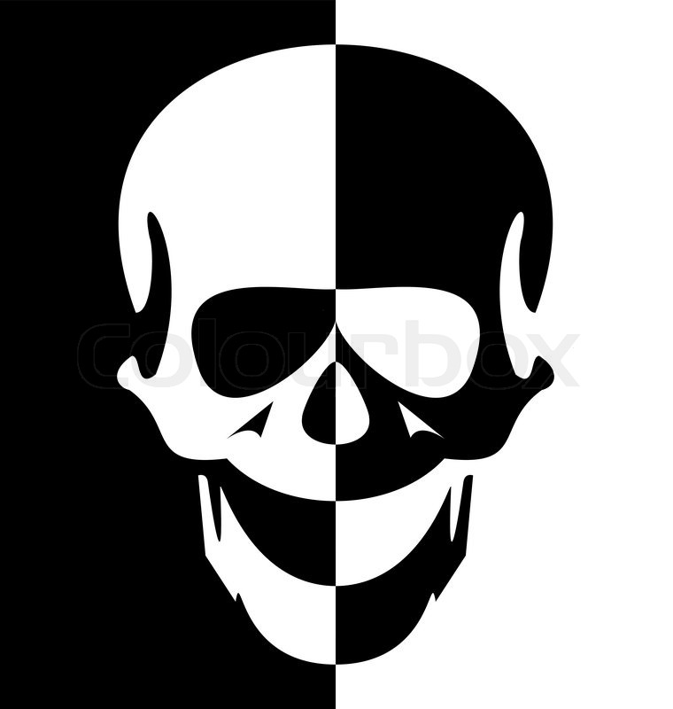 Illustration black and white skull symbol - vector | Stock ...