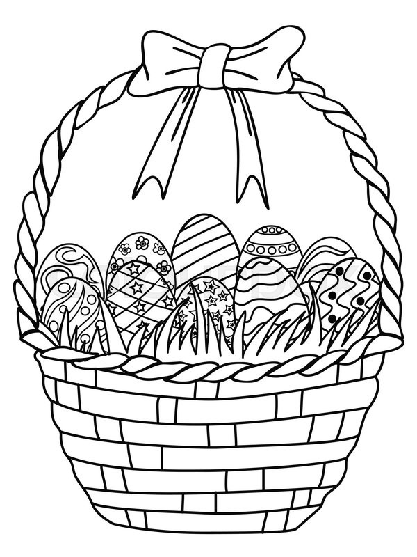Isolated Hand Drawn Basket Of Easter Stock Vector