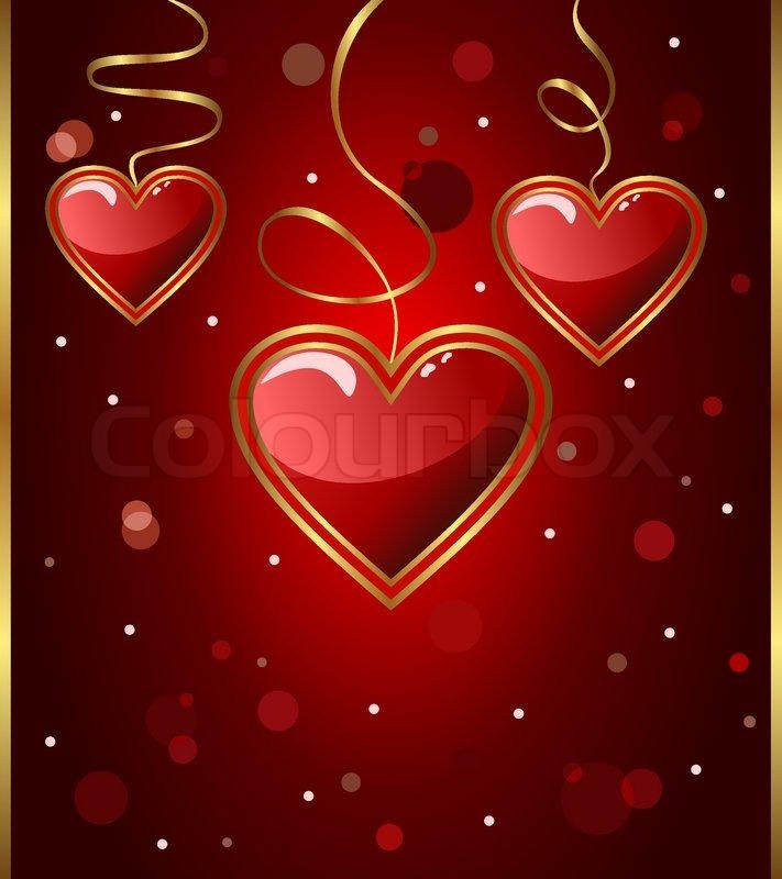 Stock Vektor Von U0027Abbildung Glückwunsch Karte Mit Herzen Zum Valentinstag    Vektor