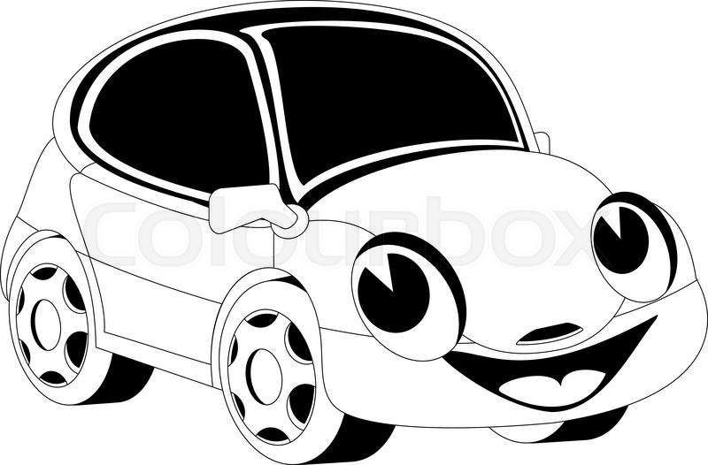 black and white illustration of a cartoon car stock vector colourbox