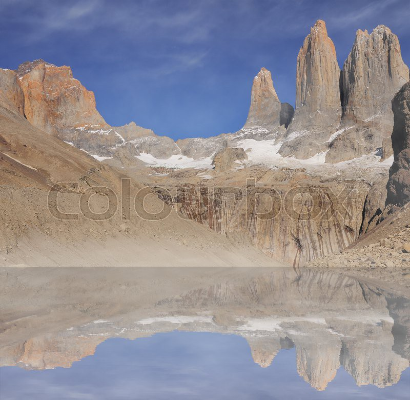 Fog And Clouds Above The Lake And Main Peaks Of Torres Del