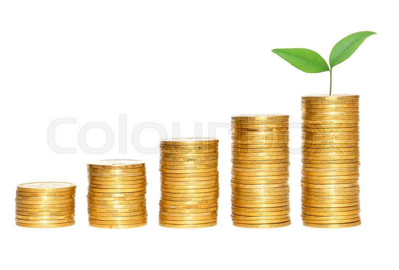 Columns Of Gold Coins Isolated On White Stock Image