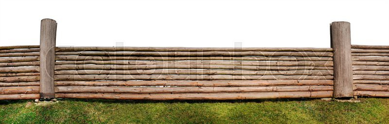 The panoramic image of very long rural isolated fence made of the pared-down pine trunks, stock photo