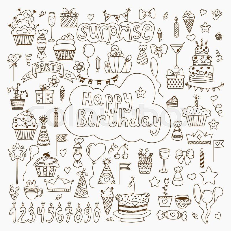 Hand drawn Birthday elements Set of vector birthday party elements