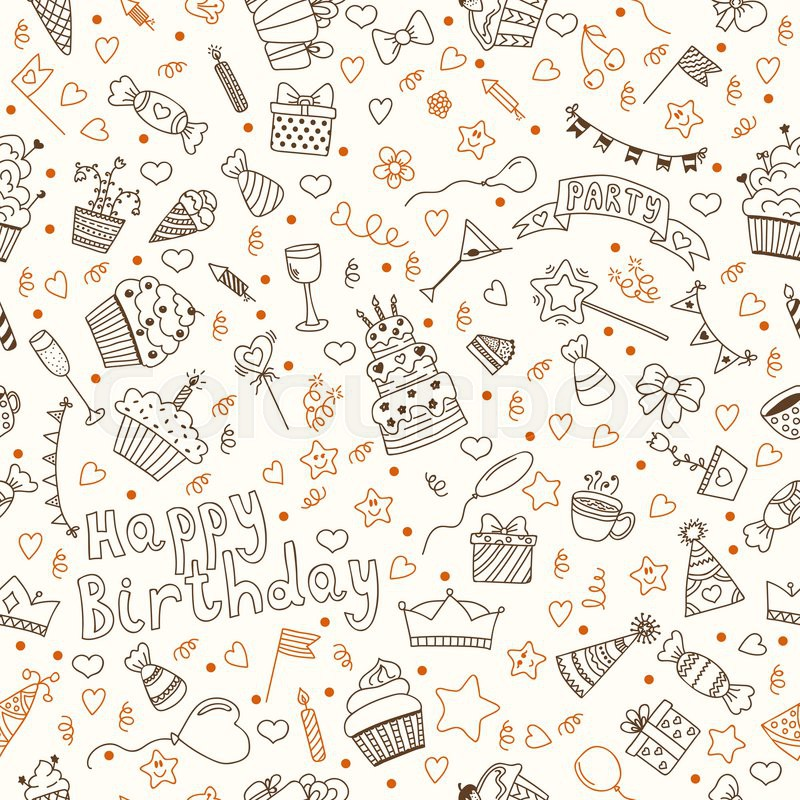 Hand drawn seamless pattern with Birthday elements. Vector