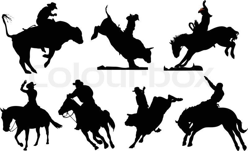 Quot Horse And Bull Silhouettes Rodeo Quot Stock Vector Colourbox