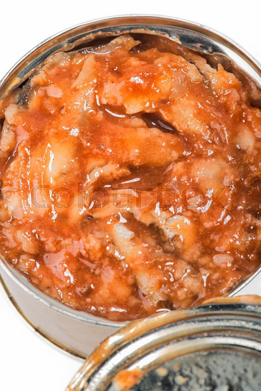 Canned fish in tomato sauce on white background stock for Fish in tomato sauce