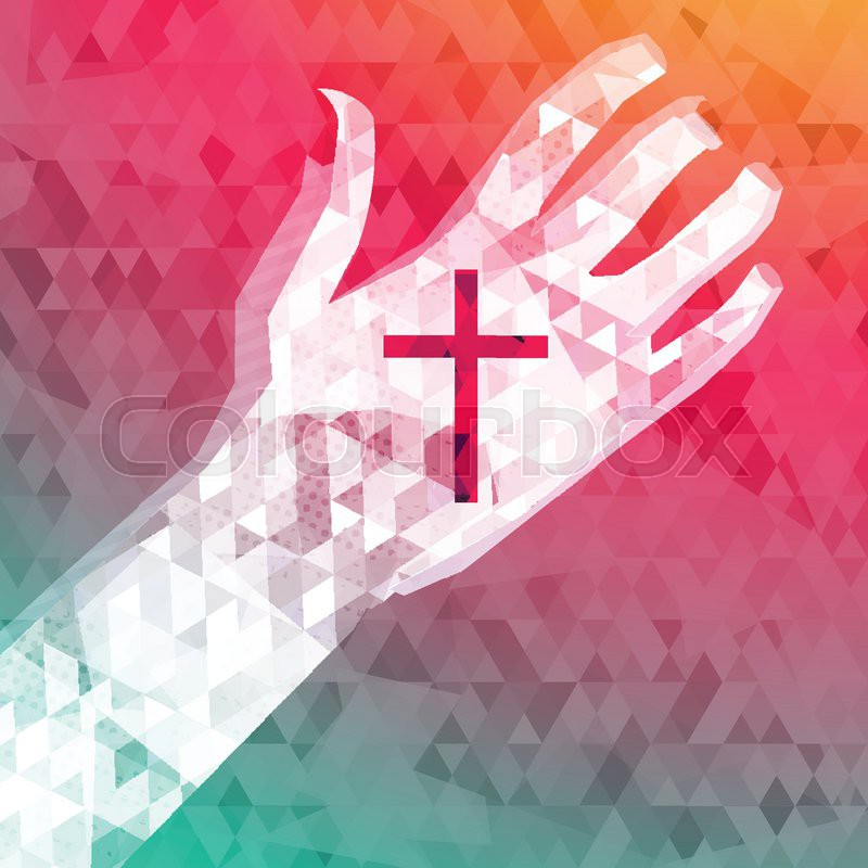 Abstract background left hand with christian cross, vector