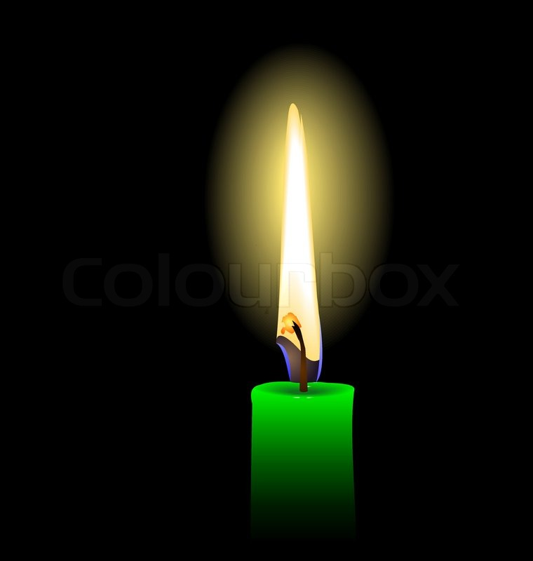 Realistic illustration of green candle isolated on black ...